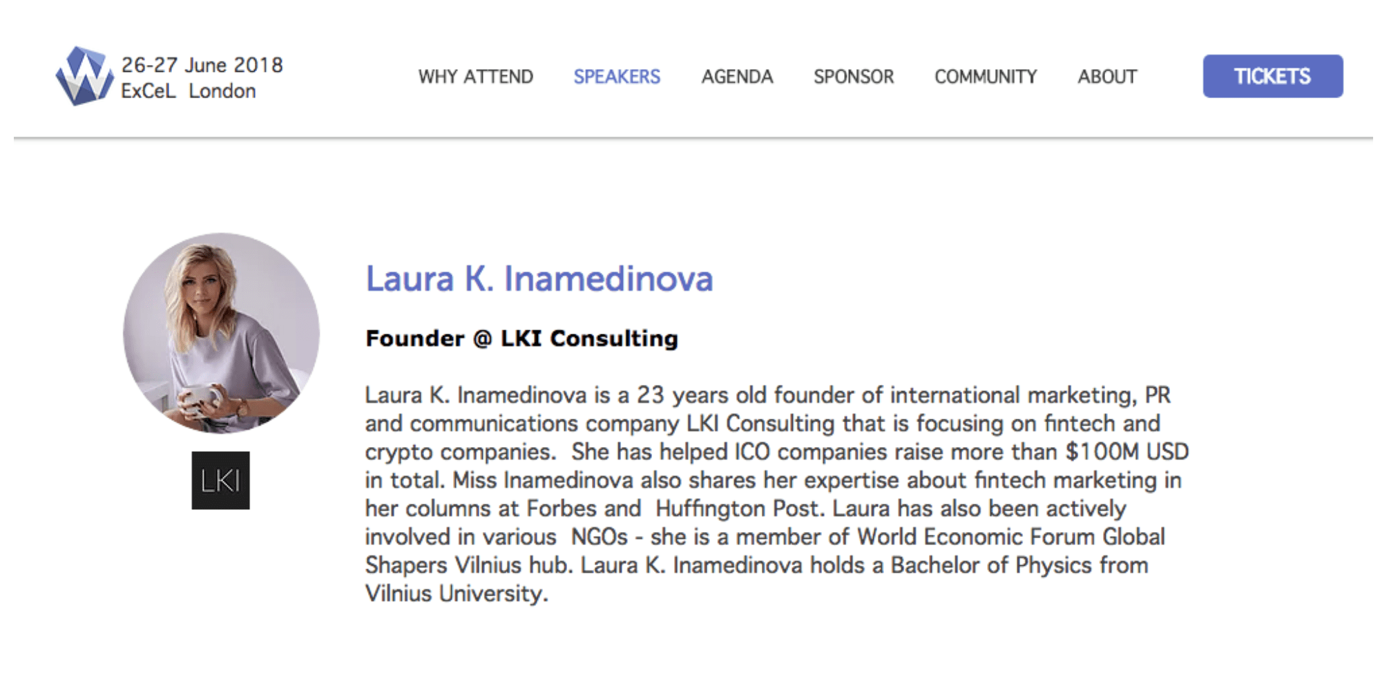 LKI Consulting founder, Laura K. Inamedinova, was invited to speak in Women of Silicon Roundabout