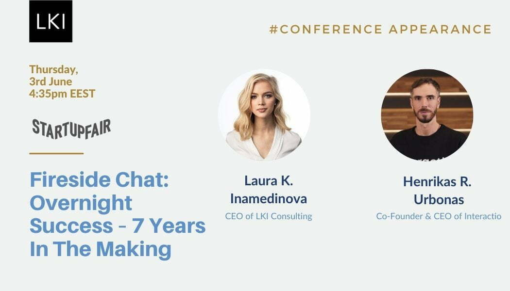 CEO of LKI Consulting, Laura K. Inamedinova, was invited to host a fireside chat at Startup Fair